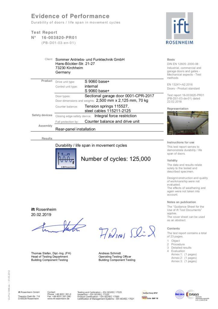 Лучшая автоматика для ворот прошла испытание! Сертификат испытания электропривода Sommer Pro+ / Base+ на 125 000 циклов